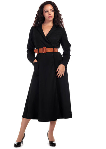 Collectif Magdalene Midi 60's Swing Dress Black