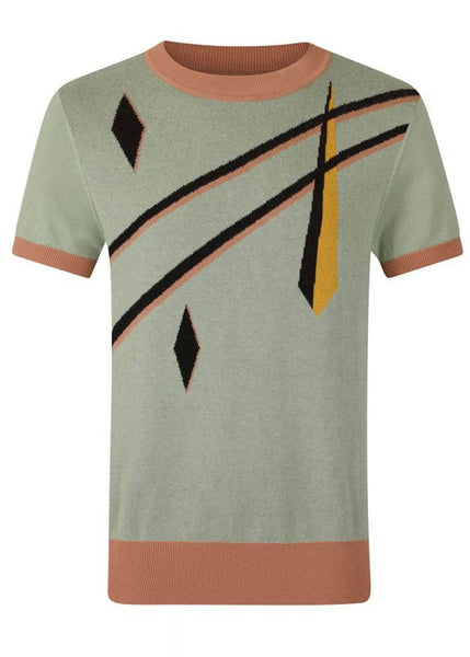 Collectif Mens Scott Art Deco 40's Jumper Green