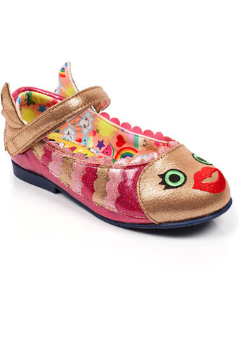 Irregular Choice Kids Fish Face Shoes Gold