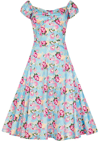 Collectif Dolores Peony Floral 50's Swing Dress Blue