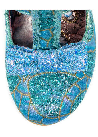 Irregular Choice Lazy River Glitter Heels Blue