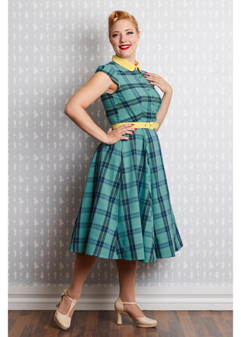 Miss Candyfloss Willow Tartan 40's Swing Dress Mint