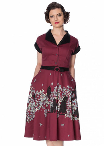Banned Black Cat Bloom 50's Swing Dress Burgundy