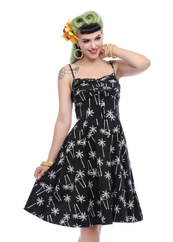 Collectif Fairy Vintage Palm 50's Swing Dress Black