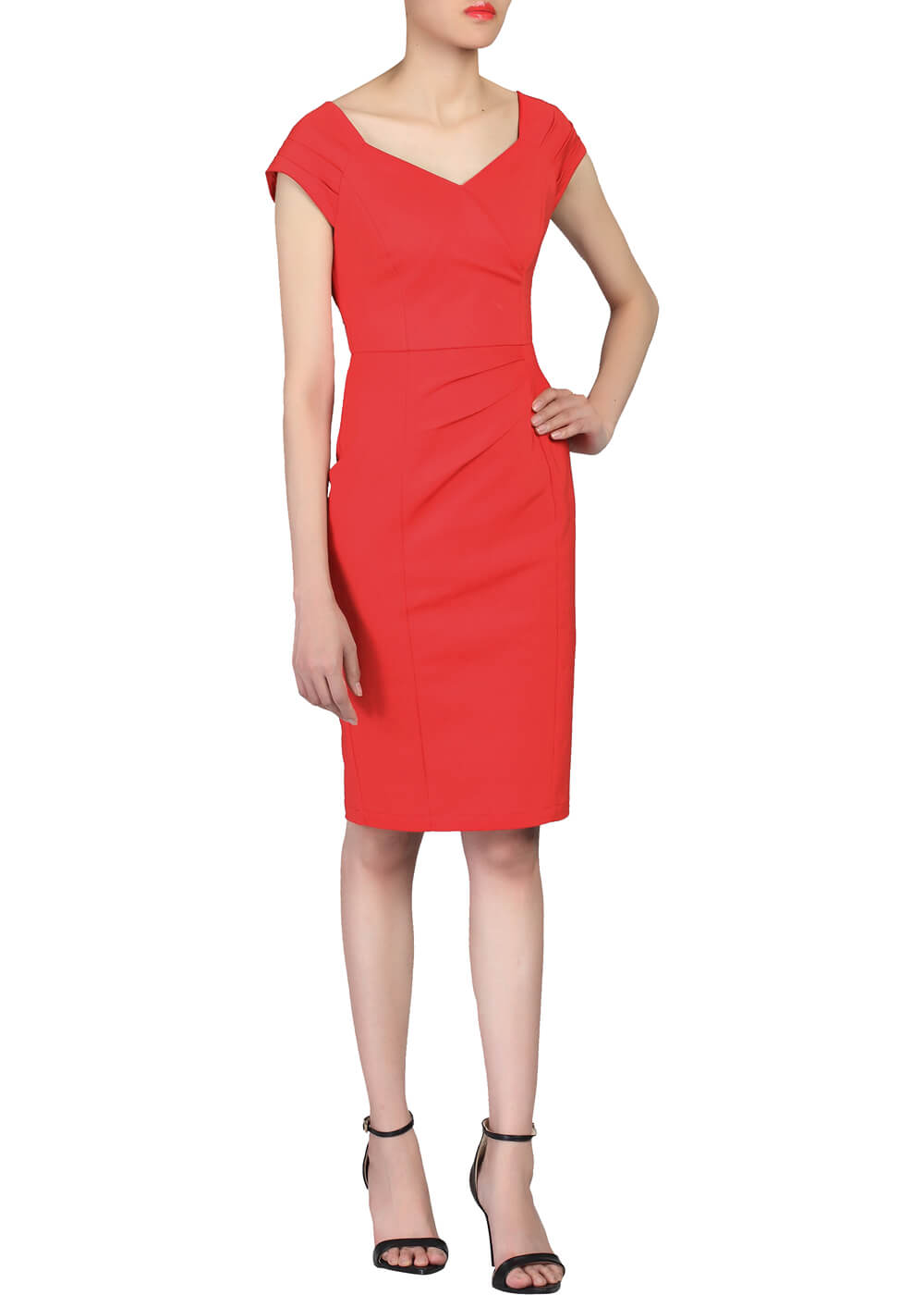 Jolie Moi Hedy Pencil Dress Red