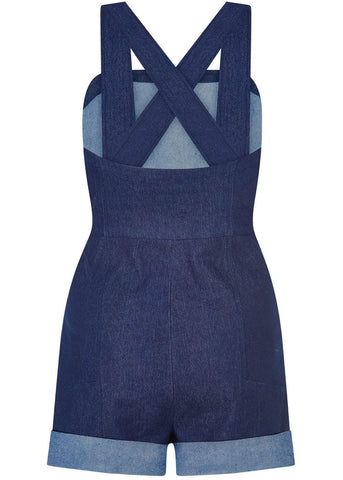 Bright & Beautiful Mila Denim 50's Playsuit Blue