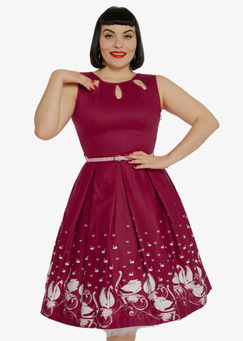Lindy Bop Lily Swan 50's Swing Dress Plum