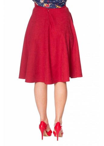 Banned Sophicated Lady 50's Swing Skirt Red