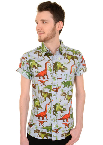 Run and Fly Gentlemens Draw A Dinosaur Shirt Blue