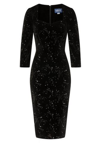 Collectif Vanessa Make A Wish 50's Pencil Dress Black