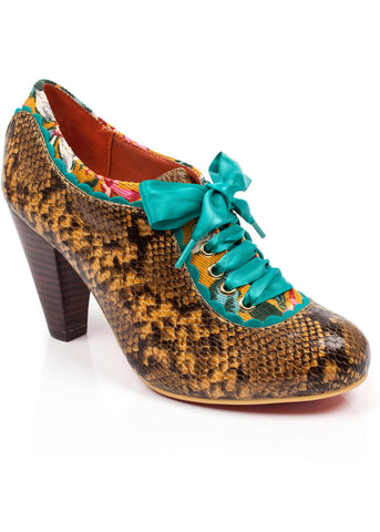 Poetic Licence Backlash Snake Pumps Mustard Navy