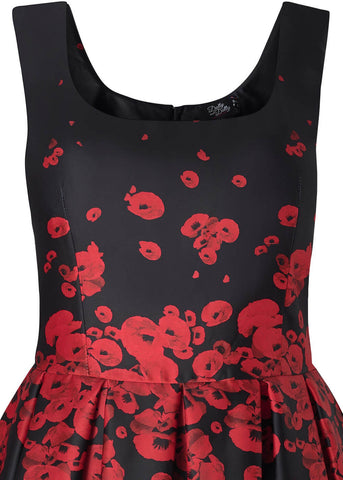 Dolly & Dotty Amanda Poppy 50's Swing Dress Black