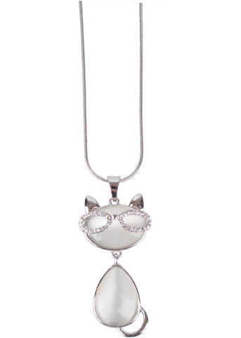 Succubus Smart Crystal Kitty Necklace Bright Silver