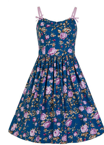 Hell Bunny Violetta 50's Swing Dress Blue