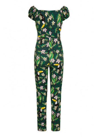 Collectif Dolores Tropical Birds Jumpsuit Green