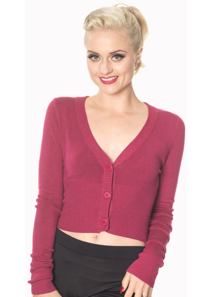 Banned Lets Go Dancing Cardigan Burgundy Color