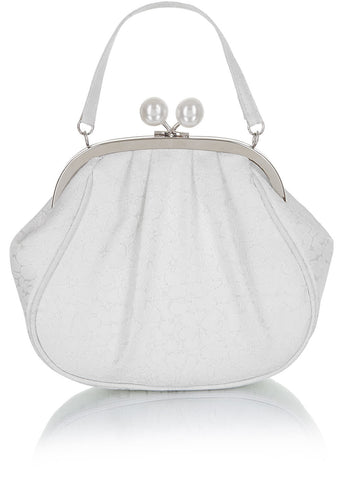 Ruby Shoo Arco Metal Frame Purse White Silver