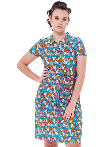 Bakery Ladies Polo Grow Furious 60's A-Line Dress Sea