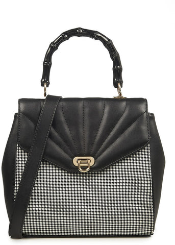 Banned Bamboo Lux 60's Handtas Houndstooth Black