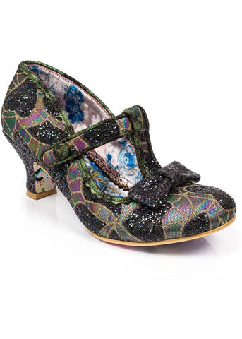Irregular Choice Lazy River Glitter Heels Black