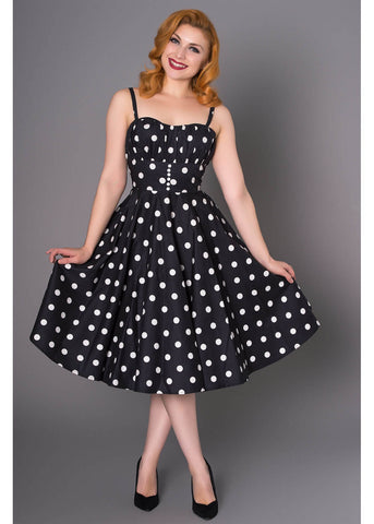 Sheen Bonnie Polkadot 50's Swing Dress Black