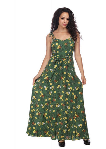 Collectif Elsie Pineapple Slice 70's Maxi Dress Green