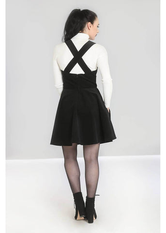Hell Bunny Wonder Years Corduroy 70's Pinafore Dress Black