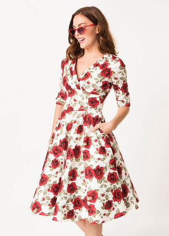 Unique Vintage Delores Red Roses 50's Swing Dress White