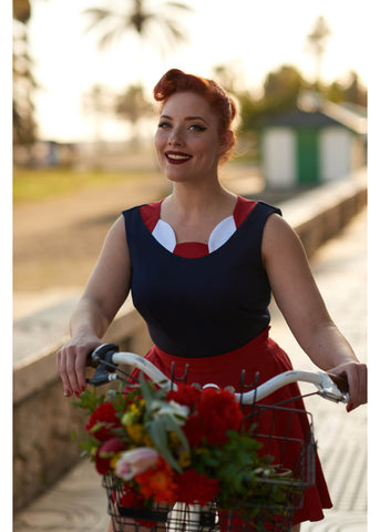 Miss Candyfloss Manuela Petal 40's Top Red White