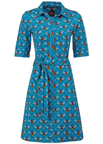Tante Betsy Button Down Bee 60's Dress Blue