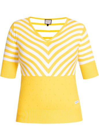 Mademoiselle Yéyé Stripes Lover 60's Top Yellow White