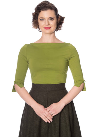 Banned Oonagh 50's Top Olive Green