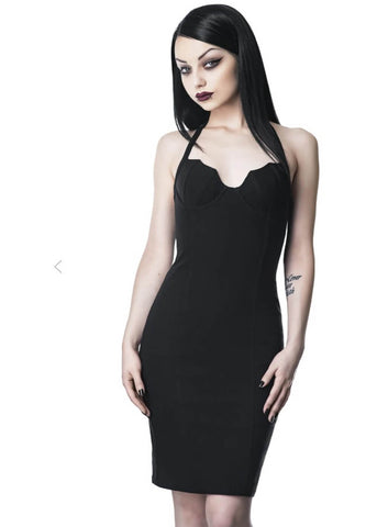 Killstar Bad Ghoul Midi 80's Pencil Dress Black