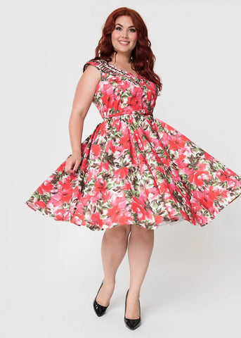 Unique Vintage Olive Floral 50's Swing Dress White Pink