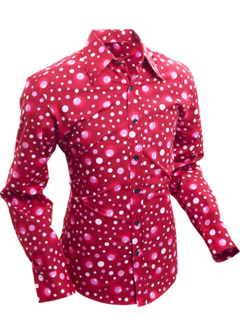 Chenaski Mens 70's Shirt Dots & Spots Bordeaux