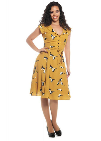 Collectif Violet Kitty 40's Swing Dress Mustard