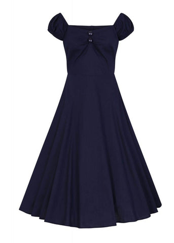 Collectif Dolores Vintage 50's Swing Dress Navy