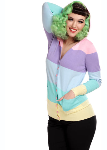 Collectif Candy Rainbow Stripe 60's Cardigan Multicolour