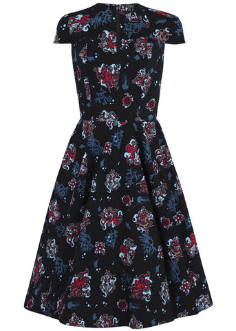 Hell Bunny Poseidon 50's Swing Dress Black