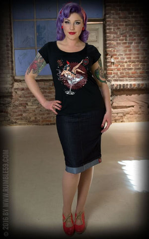 Rumble59 Burlesque Lounge Scoop T-Shirt Black