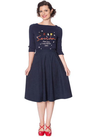 Banned Sophicated Lady 50's Swing Skirt Navy