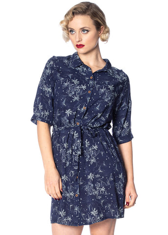Banned Santorini Dreams 60's Shirt Dress Navy