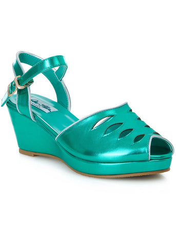 Lulu Hun Lily 40's Wedges Metallic Green