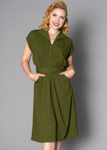 Sheen Beryl Landgirl 40's Dress Olive Green