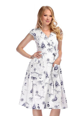cc4506056a3b Collectif Joice Ocean Map 50's Swing Dress White Navy