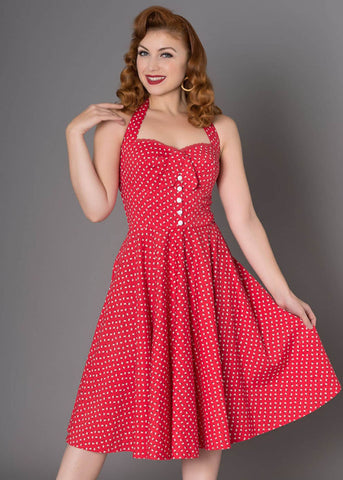Sheen Xandria Daisy 50's Swing Dress Red