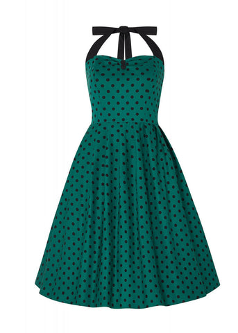 Dolly & Dotty Sophia Polkadot 50's Swing Dress Green Black