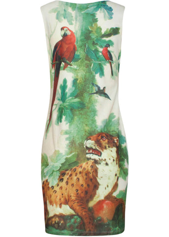 Smashed Lemon x Rijksmuseum Leopard watching Birds 60's Pencil Dress Ivory Olive