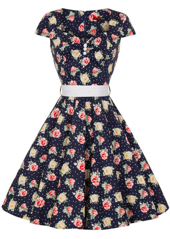 Hell Bunny Cassie 50's Swing Dress Navy