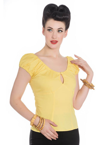 Hell Bunny Melissa Top Yellow